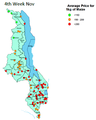 This is a map of Malawi showing average price for 1kg of maize in markets monitored by WFP. Prices are highest (> 200 MWK) in southern areas.