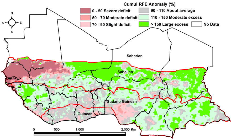 Figure 2: Rainfall estimate (RFE) anomaly compared to the 2006-2015 mean, 2nddekad of April - 1st dekad of June