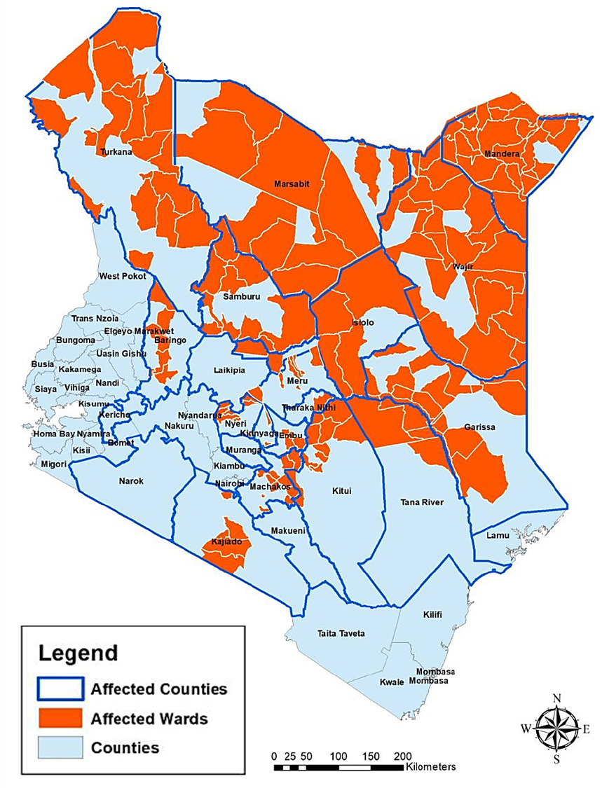 Map depicting the presence of locusts at the county and ward level in Kenya.