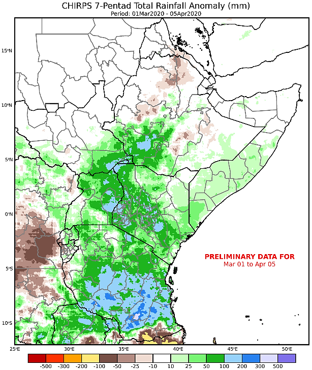 Map depicting the cumulative rainfall anomaly in mm from the long-term mean in the East Africa region from March 1st through April 5th.
