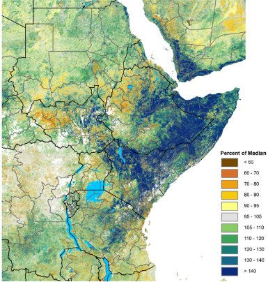 Map of East Africa and Yemen showing vegetation condition anomalies for the period of May 11-20