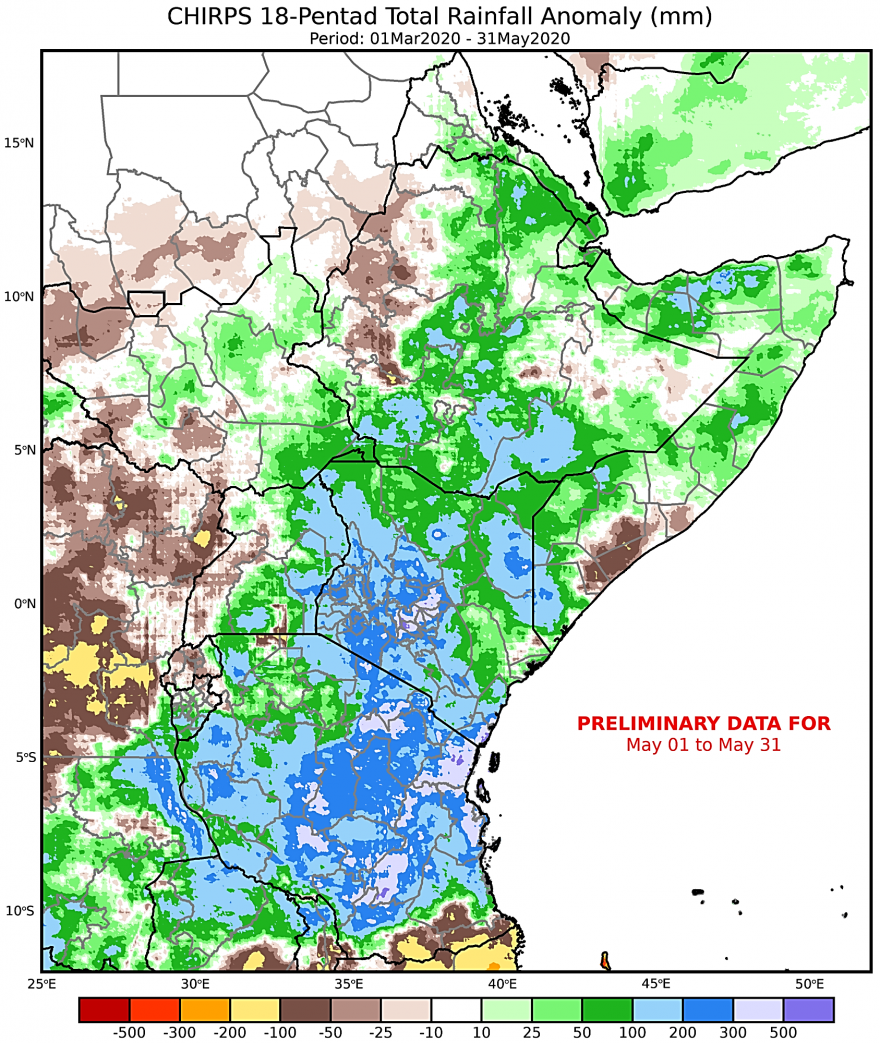 Map of East Africa and Yemen depicting rainfall performance from March to May as the anomaly in mm from the long-term average
