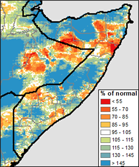 Map of Somalia showing rainfall accumulation from June 1 to August 25 as a percent of the long-term average