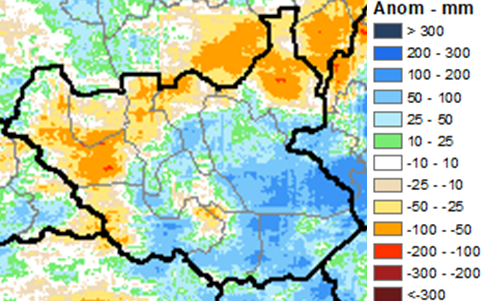 Cumulative rainfall performance anomaly in mm compared to the 1981-2010 average, June 1 – August 20, 2020