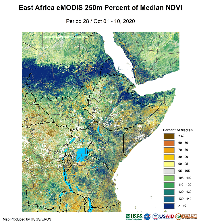 Map of East Africa showing vegetation conditions in late September as a percent of median