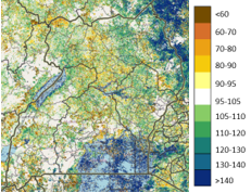 Map of Uganda showing vegetation conditions as a percent of normal during the period of October 10-20, 2020