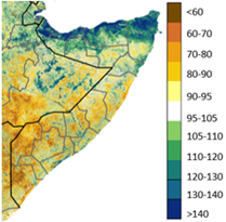 Map of Somalia showing vegetation conditions in late December as a percent of the long-term median