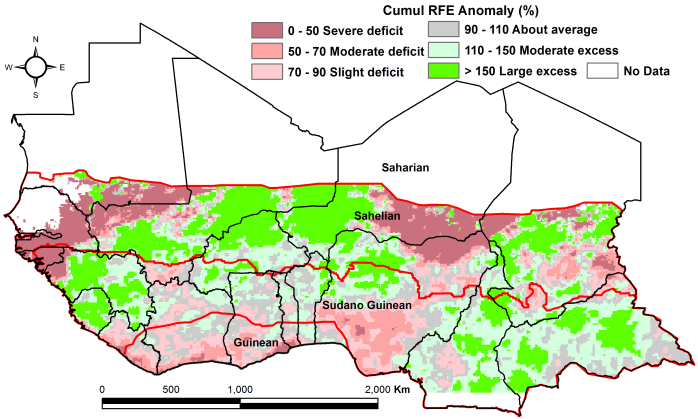Figure 2. Rainfall estimate (RFE) anomaly compared to the 2006-2015 mean, 1stdekad of April - 2nd dekad of May
