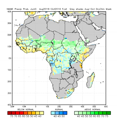 Figure 2: Rainfall forecast for August through October 2016