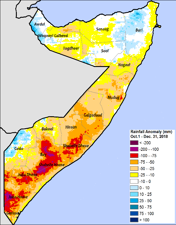 Most of Somalia accumulated below average rainfall, with deficits of 10 to 75 mm in northern and central regions and 25 to 100 mm in the South.