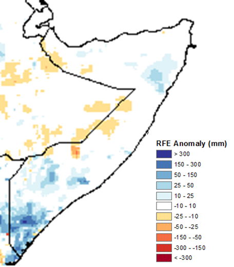 Map depicting rainfall compared to the 2005-2009 average. According to satellite-derived data, rainfall was climatologically average or slightly above the short-term mean across most of Somalia, with a higher surplus of 10-150 mm accumulating in parts of Bari and in the South