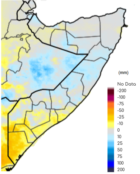 Map depicting Somalia with rainfall anomaly in millimeters. Although rainfall amounts generally ranged from average to slightly above average, rainfall was 10-25 mm below the short-term mean in parts of the South, especially in the Shabelle and Juba regions.