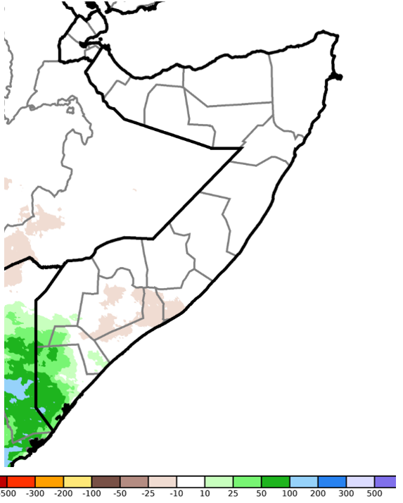 Map of Somalia. Rainfall performance was broadly climatologically average across the country compared to the long-term mean. However, positive anomalies of 25-100 mm were observed in the Jubas and Gedo while rainfall was slightly below average in parts of Bay and the Shabelles.