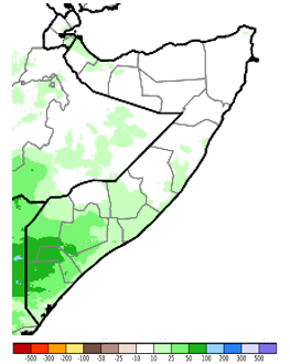 Map of Somalia. Compared to the long-term mean, rainfall in the South ranged from 10 to 100 mm above average while rainfall in the rest of the country was generally climatologically average.