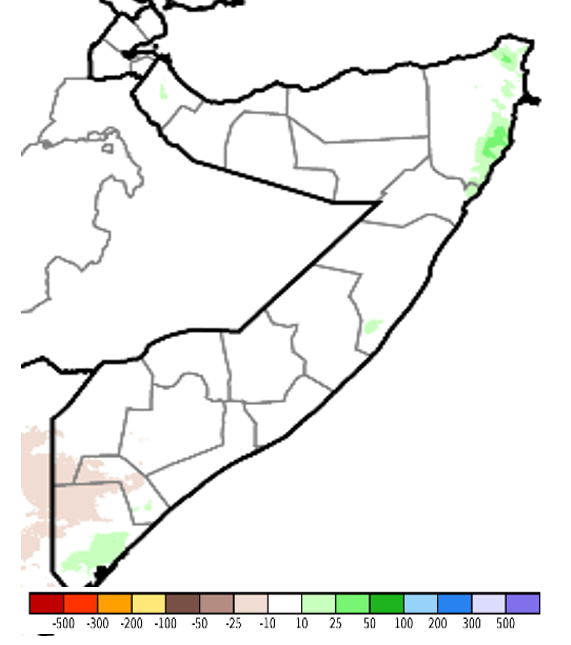 Map of SOmalia. Rainfall totals were climatologically normal, except in the Northeast and parts of the South.