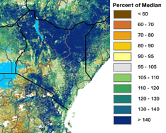 Map of Kenya. Vegetation conditions in December, as measured by the satellite-derived Normalized Difference Vegetation Index (NDVI), are more than 140 percent above average in most areas.