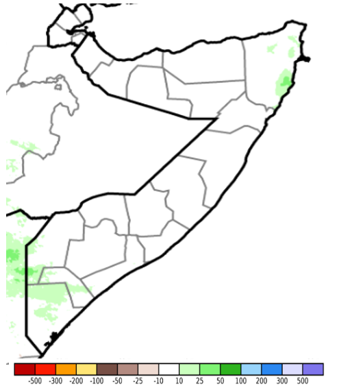 Map of Somalia. Rainfall totals were climatologically normal, except for several pockets in the Northeast and South that received slightly above-average amounts.