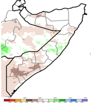 Map of Somalia showing rainfall anomaly in mm compared to the long-term average for the period of October 11-20