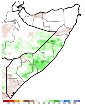 Map of Somali showing the difference in rainfall accumulation in mm during the October 21-30 period compared to the long-term average