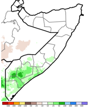 Map of Somalia showing the surplus or deficit rainfall compared to the long-term average