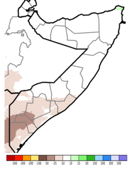 Map of Somalia showing the anomaly in rainfall accumulation in mm when compared to the long-term average