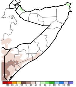 Map of Somalia showing the difference in total rainfall from the long-term average during the November 21-30 period