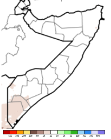 Map of Somalia showing the rainfall anomaly in mm compared to the long-term average, December 1-10, 2020