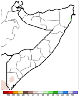 Map of Somalia showing the rainfall anomaly from the average, December 11-20
