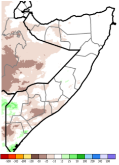 Map of Somalia showing the anomaly in rainfall accumulation compared to the long-term average, April 11-30, 2021