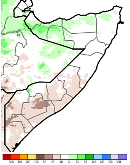 Map of Somalia showing estimated rainfall anomaly (CHIRPS Preliminary) in mm compared to the 1981-2018 mean, April 21-30, 2021