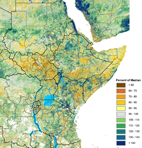 Vegetation is below the median in South Sudan, parts of eastern Kenya, central-south Somalia, and eastern Ethiopia. The rest of region is mostly above the median.