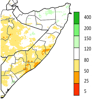 Map of Somalia showing Rainfall as a percent of the 1981-2018 average, CHIRPS preliminary, April 1-30, 2021