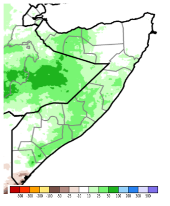 Map of Somalia showing Estimated rainfall anomaly (CHIRPS Preliminary) in mm compared to the 1981-2018 average, May 1-10, 2021