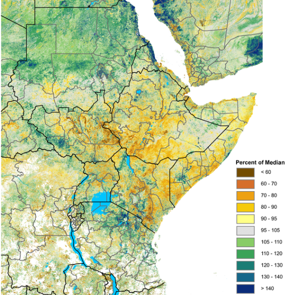 Map of eMODIS/NDVI as a percent of normal, February 1-10. Deterioration to less than 90 percent of normal is widespread in the Horn, northern Uganda, and southern South Sudan. Conditions remain average to above average in Sudan and Tanzania.