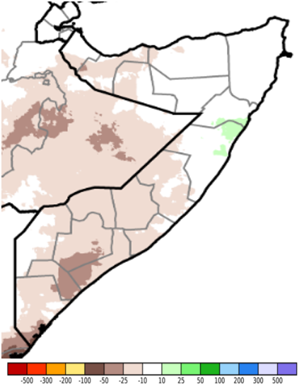 Map of Somalia showing estimated rainfall anomaly (CHIRPS Preliminary) in mm compared to the 1981-2018 average, May 21-30, 2021