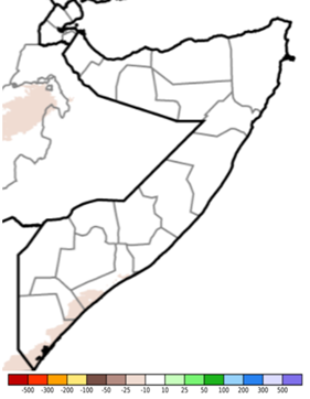 Map of Somalia showing estimated rainfall anomaly (CHIRPS Preliminary) in mm compared to the 1981-2018 average, June 1-10, 2021
