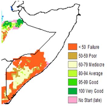 Map of Somalia showing cropping conditions based on the satellite-derived Water Satisfaction Requirement Index as of June 30, 2021