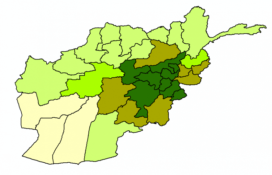 Province-wide seasonal rainfall (Oct. 1, 2018 through Mar. 10, 2019) expressed as percent deviation from average (1981-2010) for the corresponding period in Afghanistan.