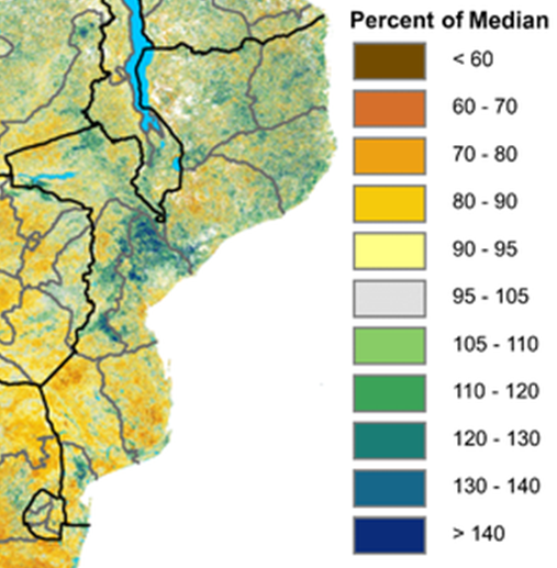 Normalized Vegetation Conditions (NDVI) as Percent of Median indicates vegetative conditions are poor in southern Mozambique while average to above average in the rest of the country.
