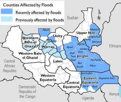Map of South Sudan showing counties affected by flooding in Northern Bahr el Ghazal, Warrap, Unity, Jonglei, Upper Nile, Jonglei, and Eastern Equatoria.