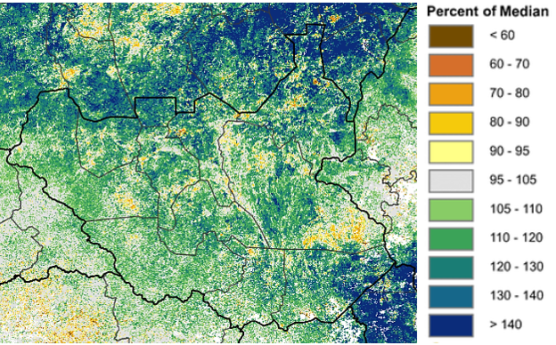 Map of South Sudan showing vegetation conditions, which are above normal in most areas.