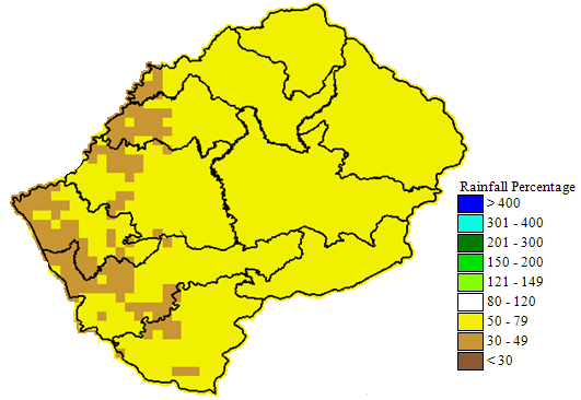 Figure 2. Lesotho Rainfall percent of average for 1 Sep to 10 Dec 2018