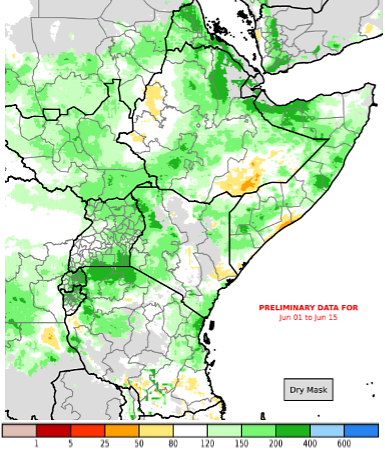 CHIRPS map of East Africa illustrating the preliminary rainfall performance as a percent of the 1981-2010 mean, from May 16 to June 15, 2019.