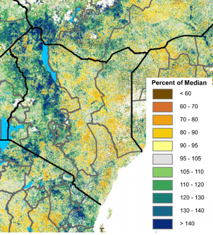 Map of NDVI across Kenya