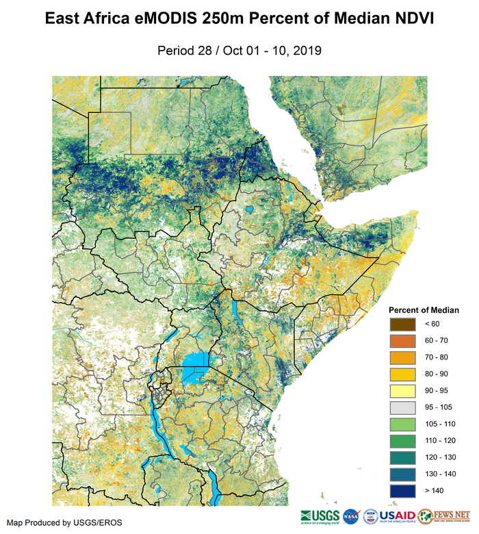 Map of vegetation conditions measured by eMODIS/NDVI. Pastoral areas of the eastern Horn are still experiencing rangeland deterioration. Areas of concern include parts of Somali region in Ethiopia, central Somalia, and parts of eastern Kenya. Coupled with off-season rainfall in other pastoral areas, vegetation conditions are highly mixed and range from below average to average