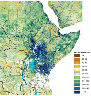 Map showing vegetation conditions as a percent of the 2007-2016 median during the March 1-10 period. vegetation anomalies in early March were exceptionally above normal across most of the East Africa.