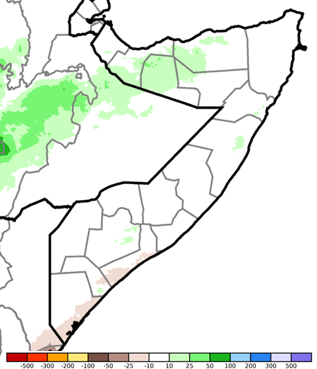 Map depicting rainfall anomaly in mm compared to the long-term average. Rainfall along the southern coast was up to 10 mm below average. In the northwest, rainfall was up to 10 mm above average. Rainfall was climatalogically average elsewhere.