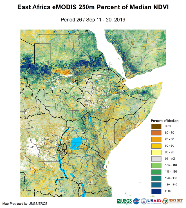 Map of vegetation conditions measured by eMODIS/NDVI. Greener-than-normal vegetation conditions are observed across eastern to western Sudan, in parts of northern Ethiopia, and along the greater Rift Valley of East Africa. In the remaining areas of the northern and western sectors, vegetation conditions are largely near-normal. In contrast, the eastern Horn continued to experience rapid deterioration of its rangeland resources.
