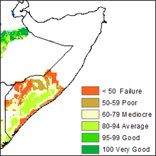 Map of Somalia showing cropping conditions for gu cereals as of late June based on the water requirement satisfaction index