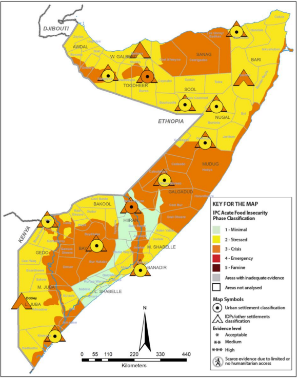 Map of Somalia showing projected food security outcomes for October-December 2021 according to the IPC v3.0 wheat bag mapping protocol